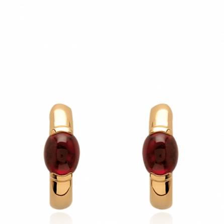 Boucles d'oreilles femme plaqué or Senya rouge