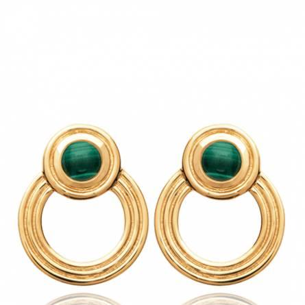 Boucles d'oreilles femme plaqué or Sephoya ronde vert