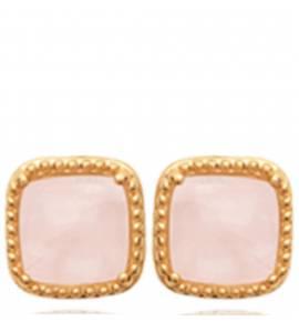 Boucles d'oreilles femme plaqué or Shesana carrée rose