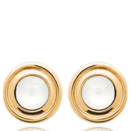 Boucles d'oreilles femme plaqué or Solya ronde blanc