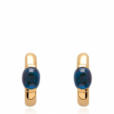 Boucles d'oreilles femme plaqué or Soya créoles bleu