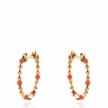 Boucles d'oreilles femme plaqué or Terky ronde orange