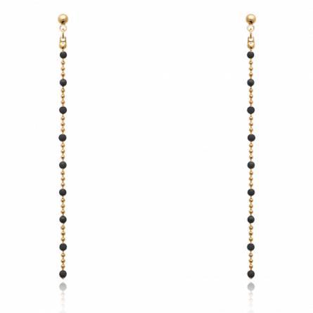 Boucles d'oreilles femme plaqué or Tylinora noir