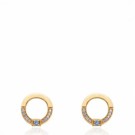 Boucles d'oreilles femme plaqué or Umena ronde bleu