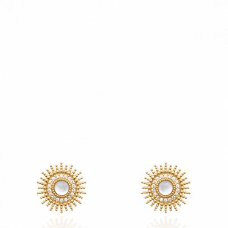 Boucles d'oreilles femme plaqué or Velta blanc