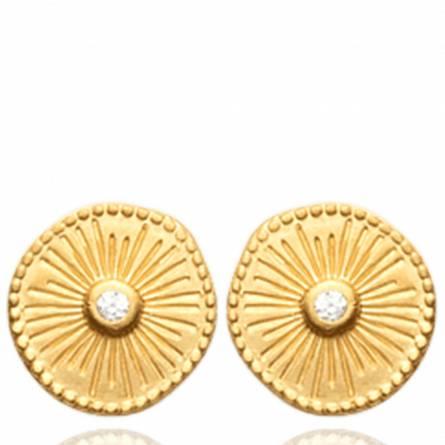 Boucles d'oreilles femme plaqué or Volena ronde