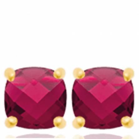 Boucles d'oreilles femme plaqué or Zeana rouge