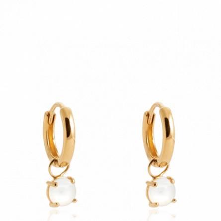 Boucles d'oreilles femme plaqué or Zeyou créoles blanc