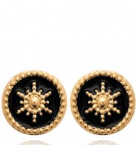 Boucles d'oreilles femme plaqué or Zuja ronde noir
