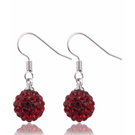 Boucles d'oreilles multi strass rouge Parsegh