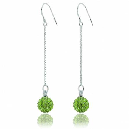 Boucles d'oreilles multistrass vert électrique
