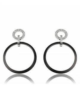 Boucles d'oreilles noires acier et céramique Esposito