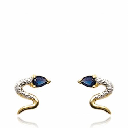 Boucles d'oreilles oasis serpenté bleu