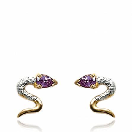 Boucles d'oreilles oasis serpenté violette