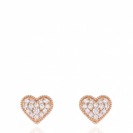 Boucles d'oreilles or rose coeur diamant