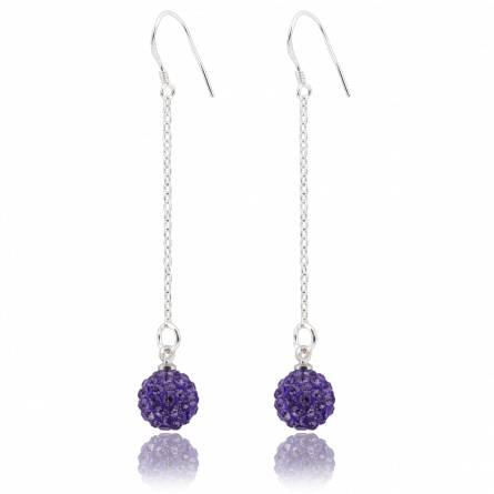 Boucles d'oreilles pendant cristal violettes  Patricio