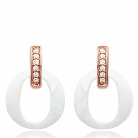 Boucles d'oreilles plaqué or rosé céramique Cloé