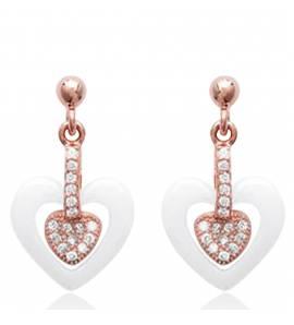 Boucles d'oreilles plaqué Or Rose Céramique Cupidon
