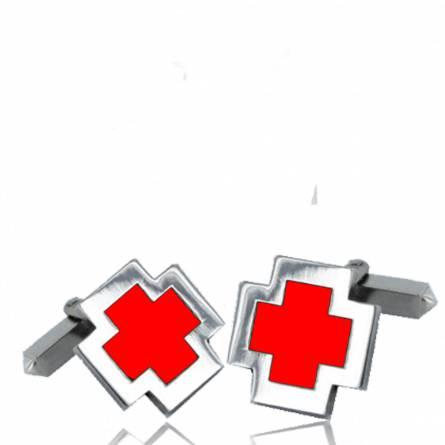 Boutons de manchettes rouge croix résine et argent Eulalie