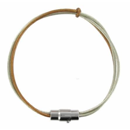 Bracelet 3 brins cuir argent et bronze Bryce