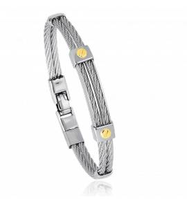 Bracelet acier motif vis en or jaune