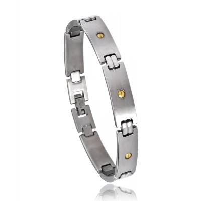 Bracelet acier pointe d'or