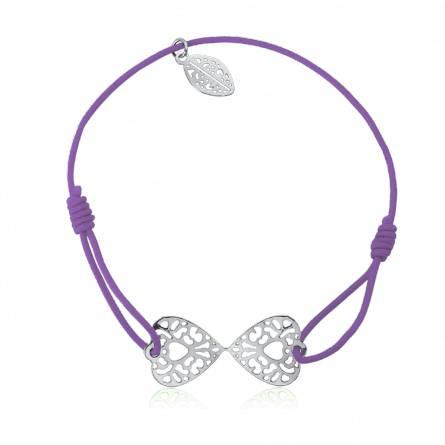 Bracelet élastique mauve papillon Évady