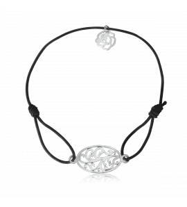 Bracelet élastique Noir florale Tramy