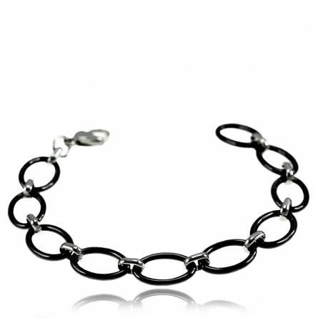 Bracelet anneaux céramique noir Francine
