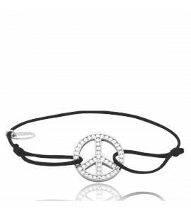 Bracelet argent et cordon noir Peace&Love