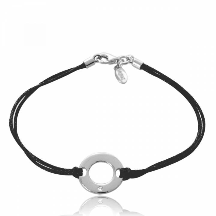 Bijoux Murat Argent 925 : Bracelet ronde femme symbolpoint argent coton cir? noir