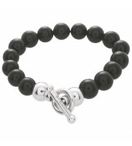 Bracelet argent pour charm's à boules noires Sensible