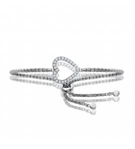 Bracelet Argent Rhodié Cœur Strass