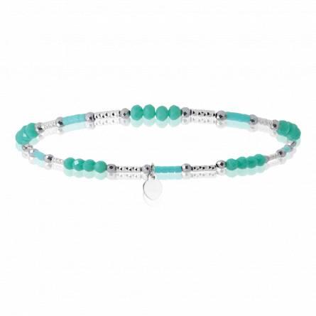 Bracelet argent rhodié cristal vert