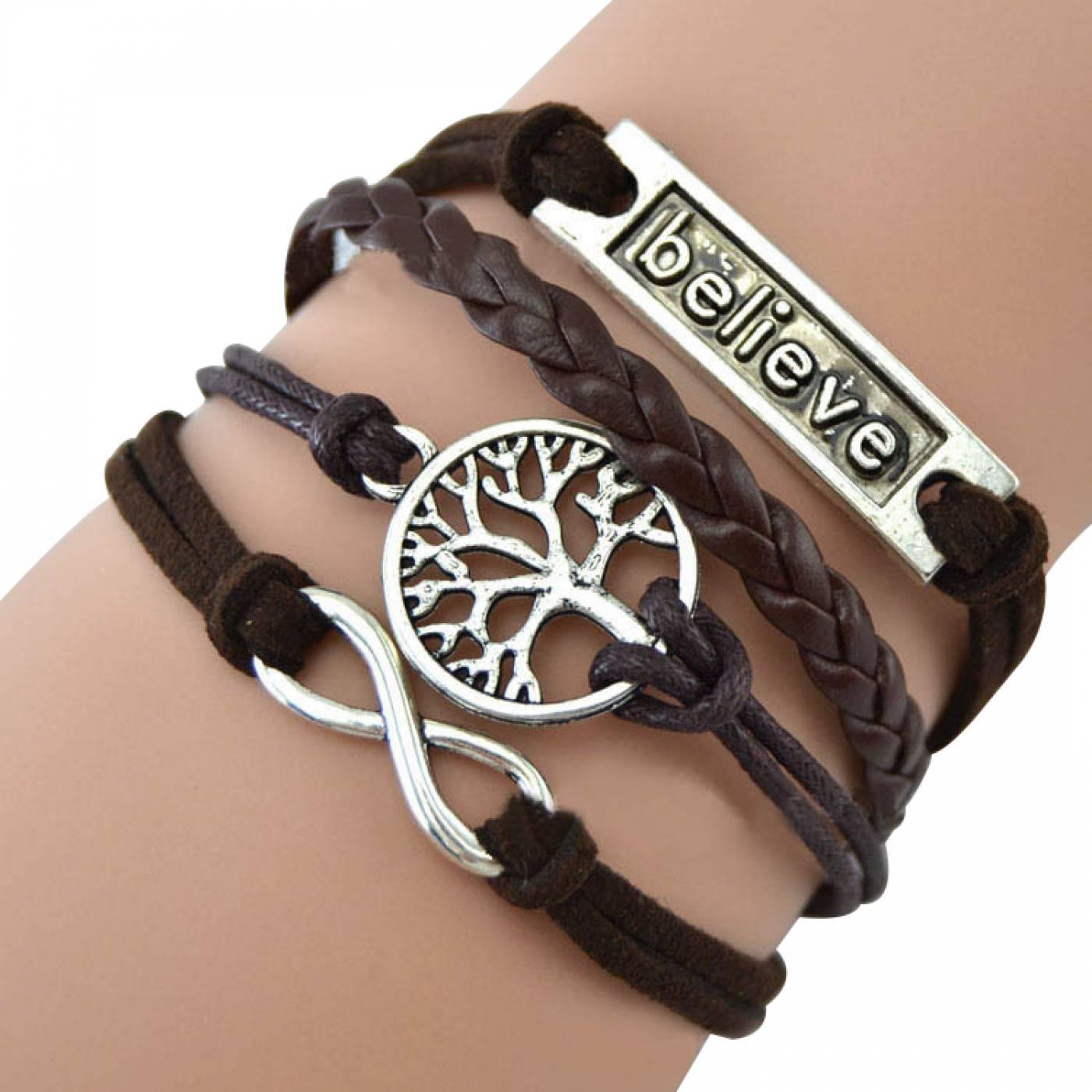bracelet br silien infini femme infini noir simili cuir noir. Black Bedroom Furniture Sets. Home Design Ideas