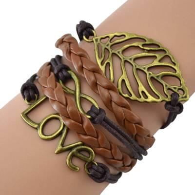 Bracelet bresilien Love cuir marron
