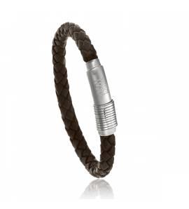 Bracelet Cerruti acier cuir marron Urbano Casuale Tangui