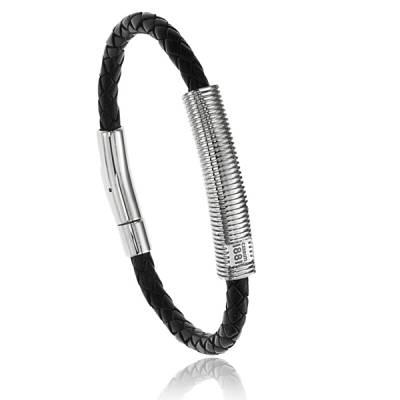 Bracelet Cerruti acier Cuir noir Urbano Casuale Bryan