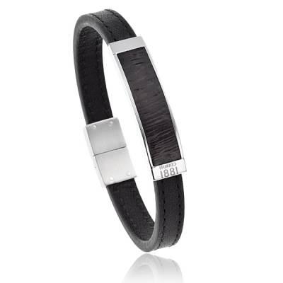 Bracelet Cerruti acier Cuir noir Urbano  Fridolin