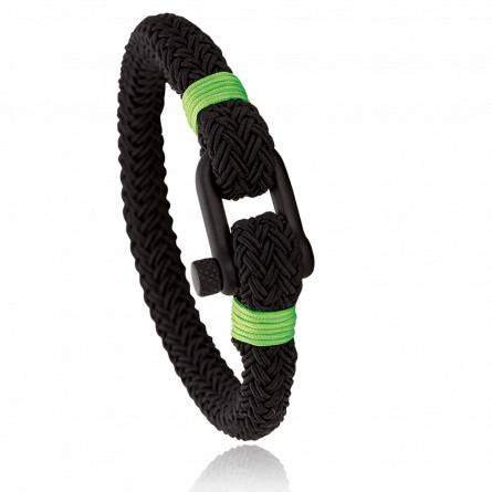 Bracelet corde et acier Jerian vert 2