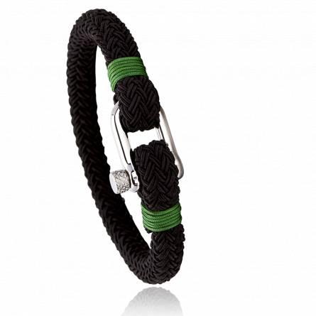 Bracelet corde et acier Jerian vert
