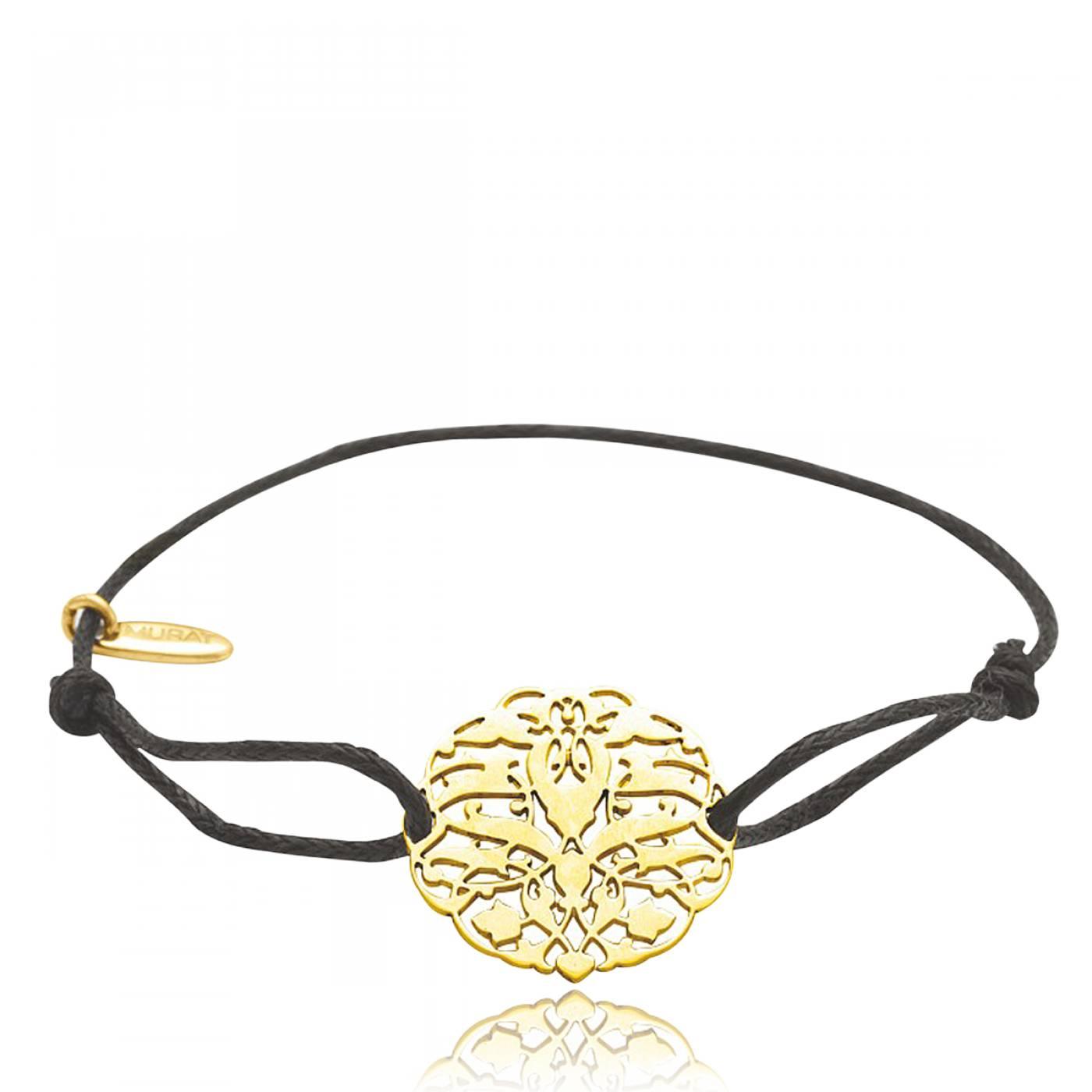 Bien-aimé Bracelet Femme Arbre de Vie Plaqué Or & Coton Ciré Noir - Murat Paris XM38