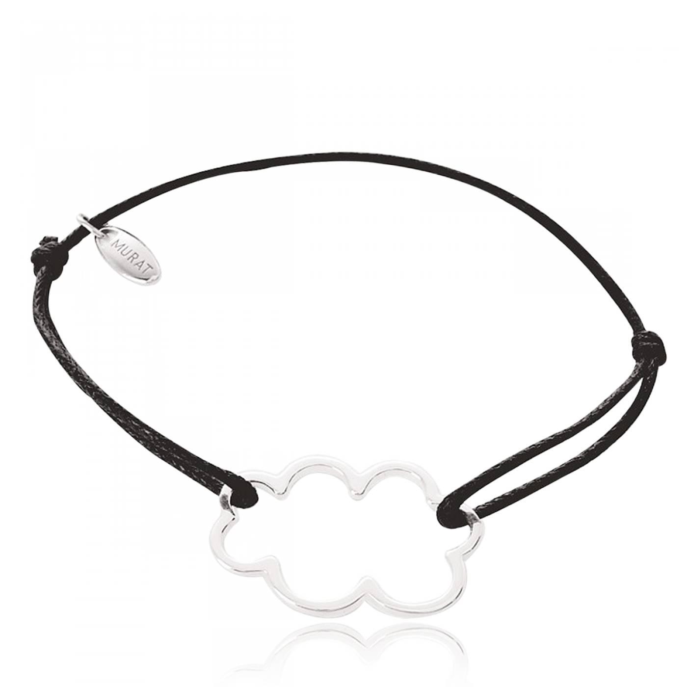 Favori Bracelet Femme Nuage Argent & Coton Ciré Noir - Murat Paris MZ15