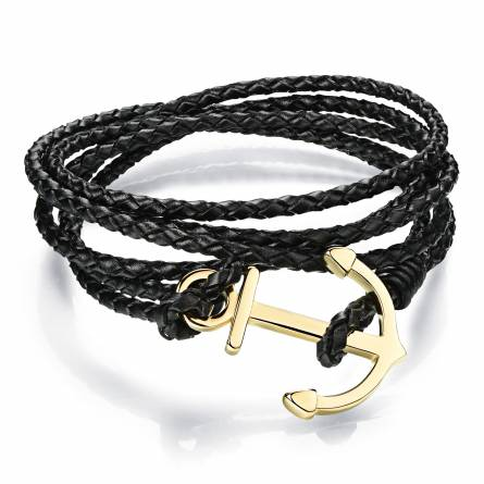 Bracelet Cuir Ancre Doré
