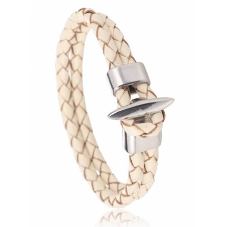 Bracelet cuir blanc Bologne