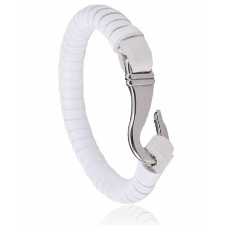 Bracelet cuir blanc honora