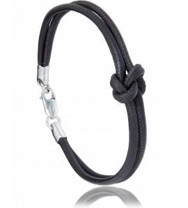 Bracelet cuir marron Navale Noeud d'amoureux