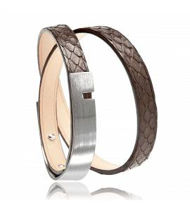 Bracelet cuir marron U-Turn twice python