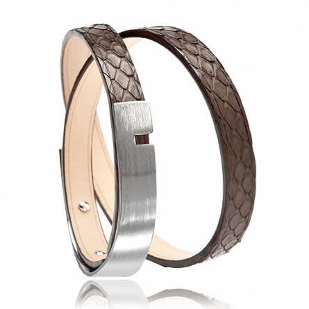 Bracelet cuir marron U-Turn twice python