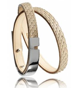 Bracelet cuir naturel U-Turn twice python